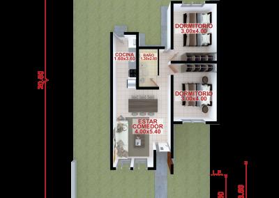 Vivienda c68 de 2 dormitorios